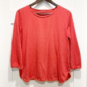 Talbots 100% Cotton 3/4 Sleeve Coral Red Top